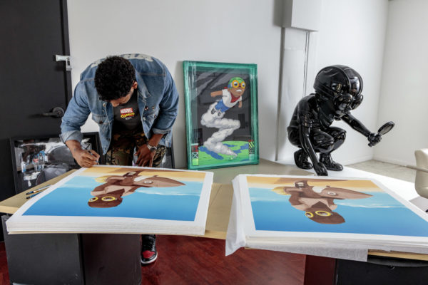 hebru-brantley-boy-on-rocket-print-them-all-signing-process-lithograph-chicago