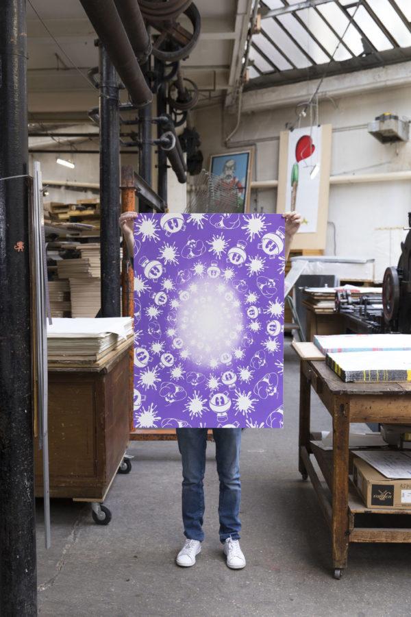 no-stain-no-gain-john-armleder-print-them-all-mamco-geneve-lithograph-purple-white-edition-art-printing-publishing-house-paris