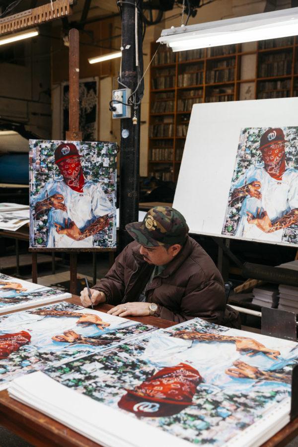 block-watch-tone-michael-vasquez-signing-his-lithograph-print-them-all-art-print