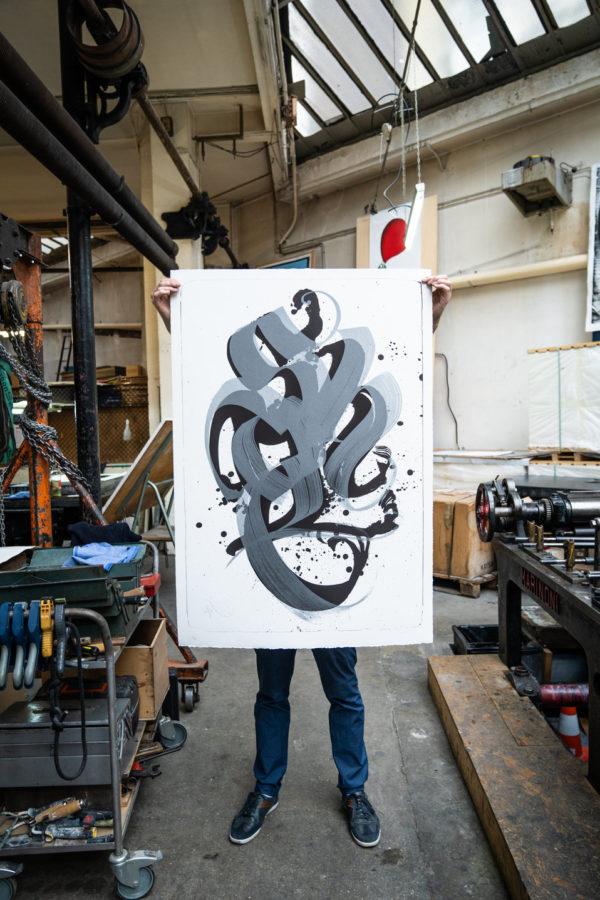 unambidextrous-black-metallic-grey-niels-shoe-meulman-print-them-all-lithograph-contemporary-art-paris