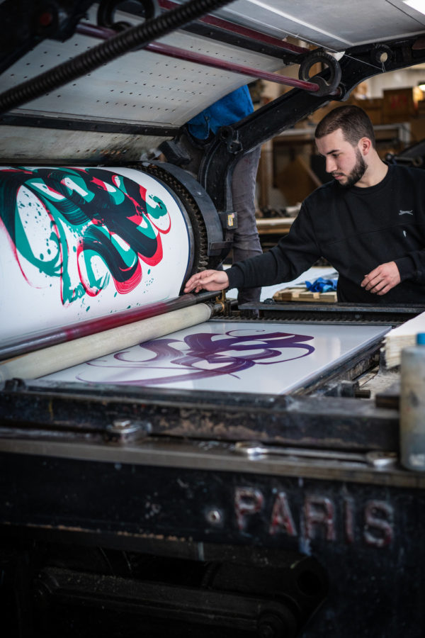 unambidextrous-green-red-niels-shoe-meulman-print-them-all-lithograph-on-stone-publishing-house-paris-printing-process
