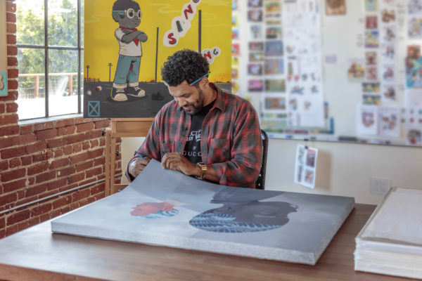 two-men-sporting-waves-hebru-brantley-print-them-all-artist-signing-lithograph-process