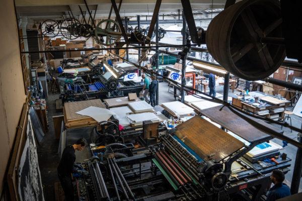 unambidextrous-blue-metallic-brown-niels-shoe-meulman-print-them-all-lithograph-on-stone-printing-process-paris-publishing-house