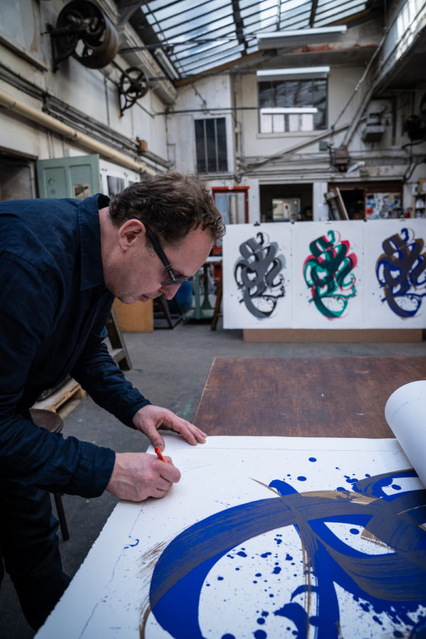 unambidextrous-blue-metallic-brown-niels-shoe-meulman-signing-his-lithograph-limited-edition-print-them-all