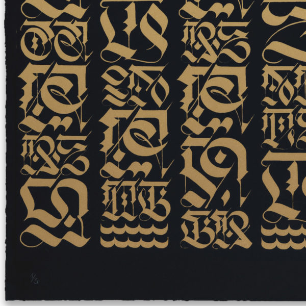 the-divine-letter-gold-on-black-cryptik-print-them-all-lithograph-numbered-limited-edition