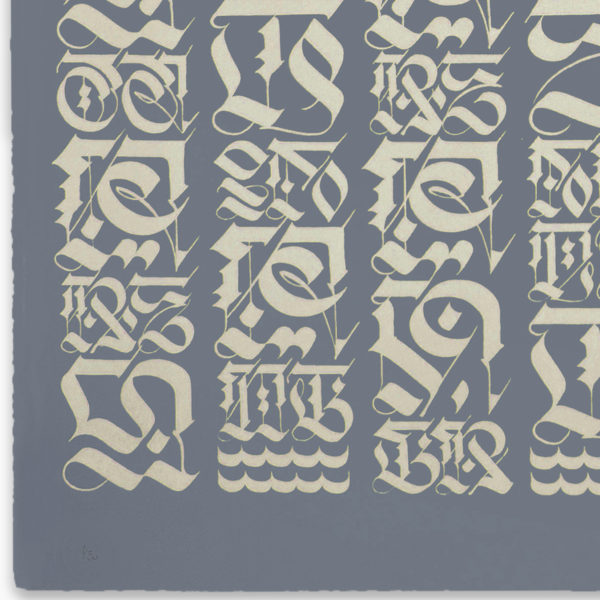 the-divine-letter-pale-gold-on-grey-cryptik-print-them-all-lithograph-numbered-limited-edition