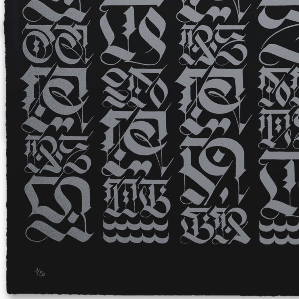the-divine-letter-silver-on-black-cryptik-print-them-all-lithograph-numbered-limited-edition