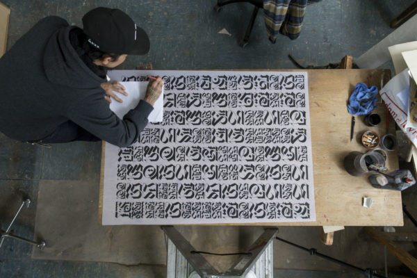the-divine-letter-white-edition-cryptik-print-them-all-lithograph-artist-creating-process